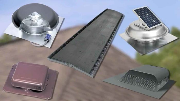 Various types of attic ventilation and the solutions we can provide