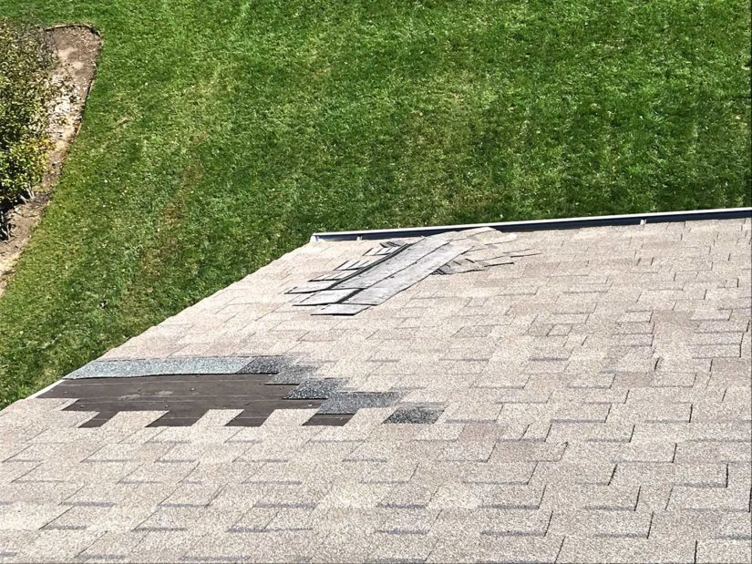 Wind damage on roof