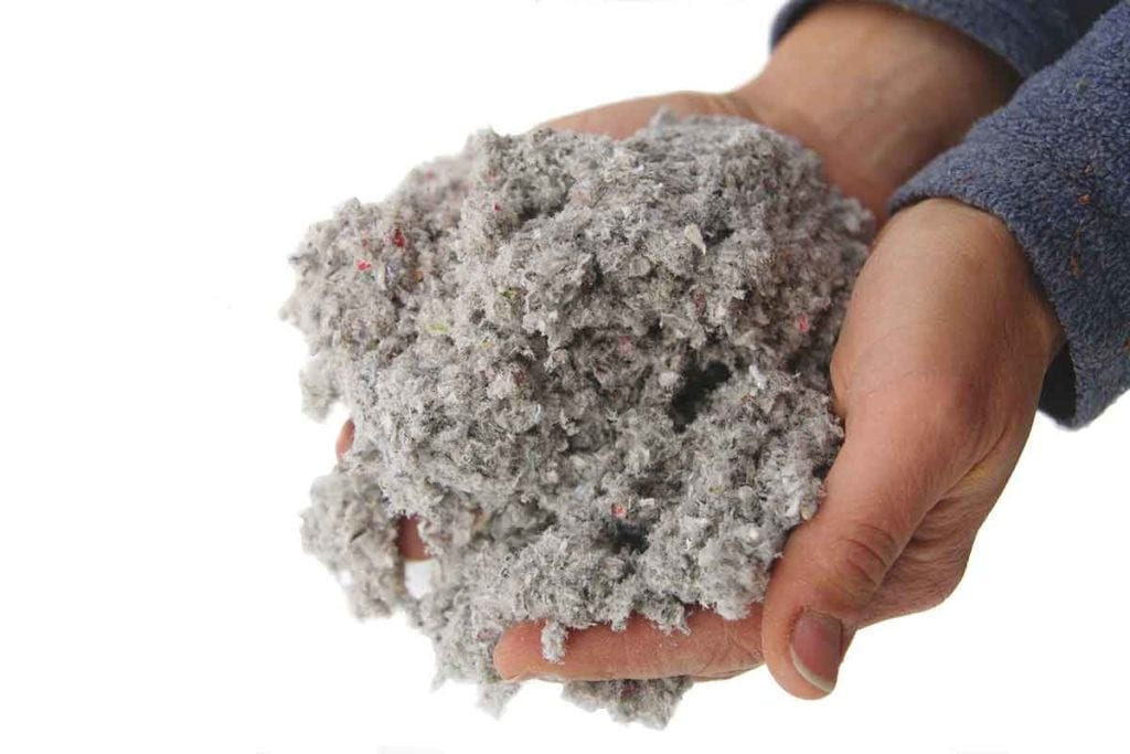 Blown-in cellulose insulation made up of completely recycled, environmentally safe materials, eco-friendly option.