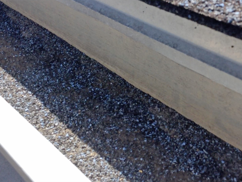 granules in a gutter