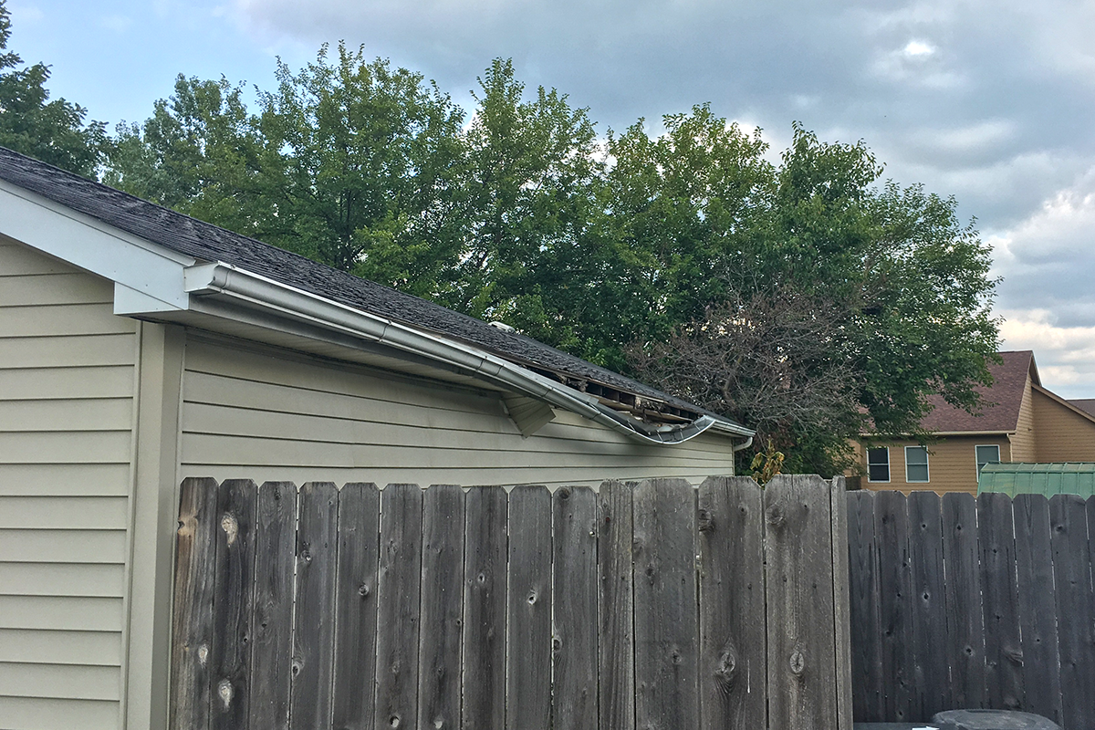 gutter falling away from the roof