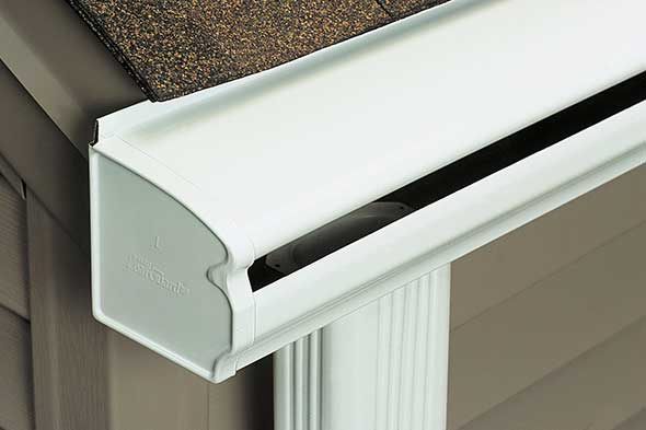 LeafGuard® Gutters have a built-in hood covers the gutter bottom and deflects leaves and other debris