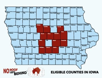 No Roof Left Behind eligible counties in Iowa.