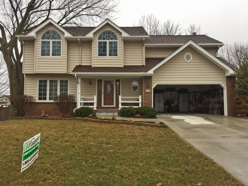 LeafGuard® gutters patented design keeps rainwater running freely and safely away from this Ankeny, Iowa home.