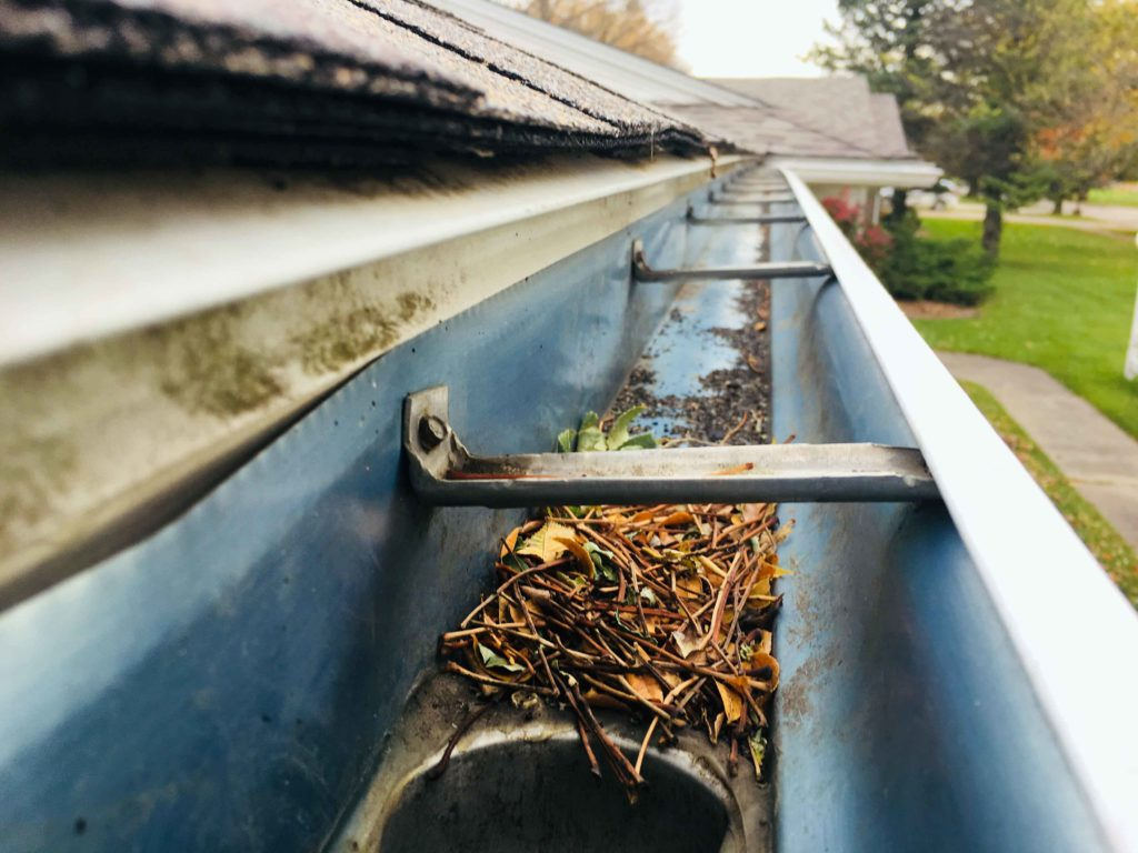 Jim's Rockwell City, IA home's gutters were often clogged with leaves and debris.