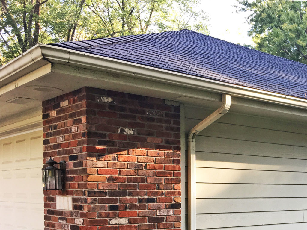 The gutters and downspouts of this Des Moines, Iowa home were too small.