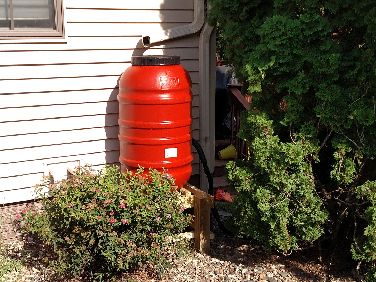 Rain barrels offer homeowners a chance to capture and use water from roofs and garages.