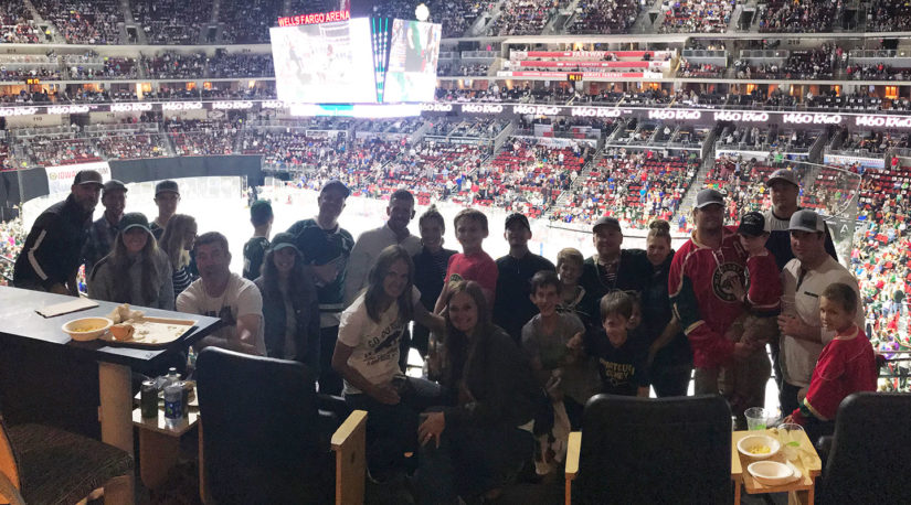 HSI Family and friends gathered for a night of NHL hockey at Wells Fargo Arena.
