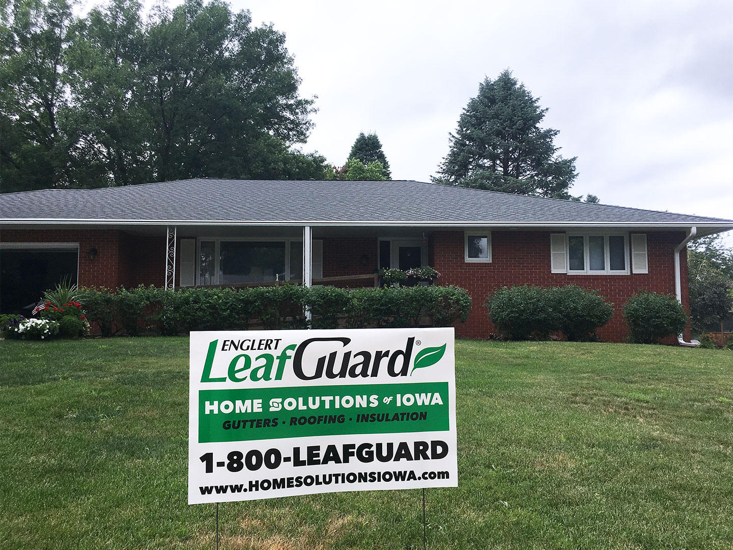 Harriet and his wife's Marshalltown, IA home is now safeguarded with GAF® roofing shingles and LeafGuard® Brand Gutters.