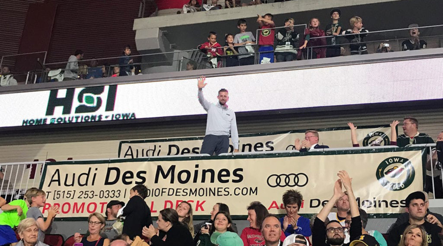 Joe Smith, President of Home Solutions of Iowa being recognized for giving back to the community and helping grow youth hockey in Des Moines.