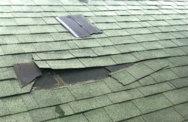 shingle damage from a storm