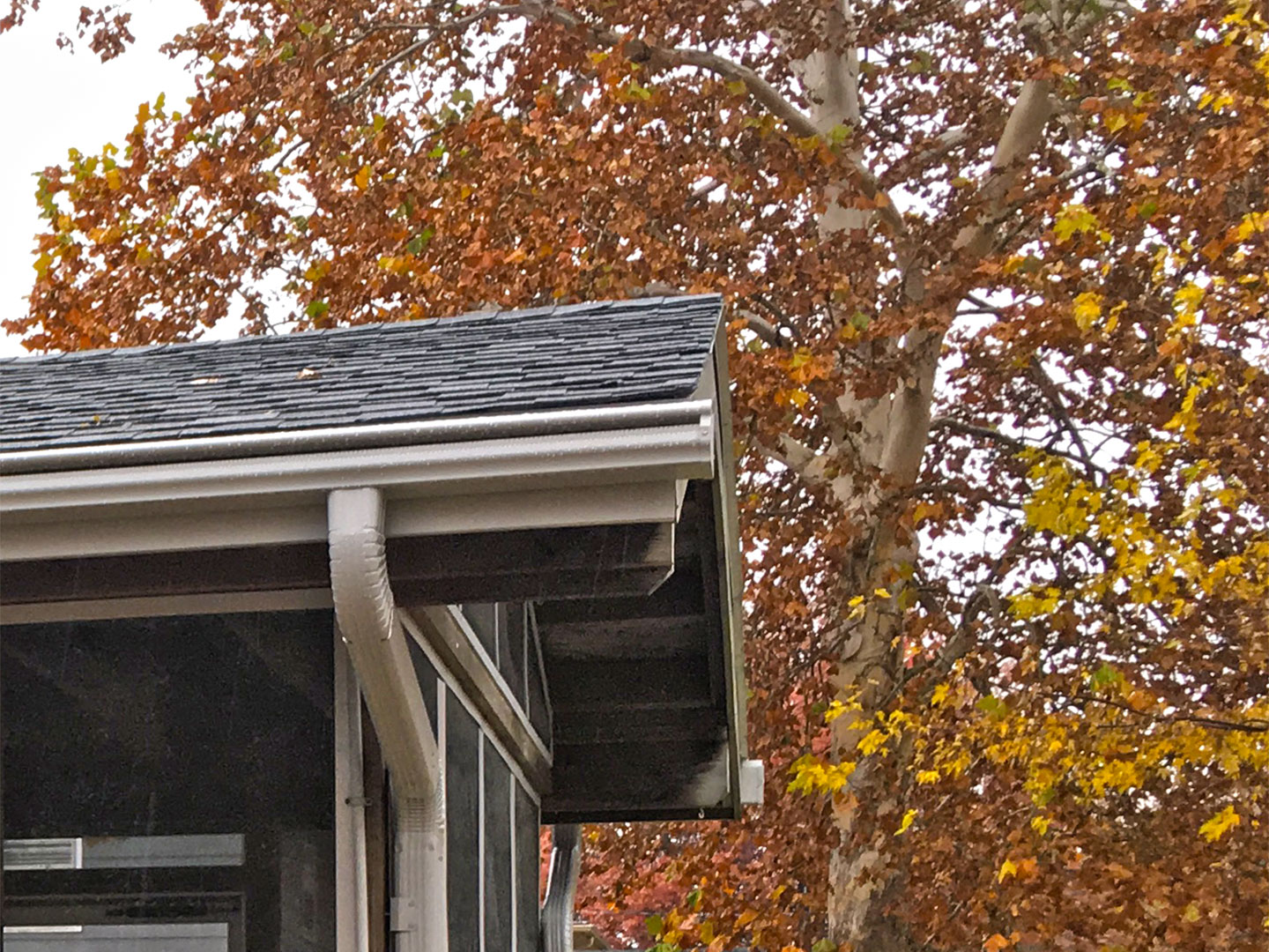 LeafGuard®'s patented design allows rainwater to travel down and around its curved hood and into the gutter, while deflecting leaves and debris with the scientific principle of Liquid Adhesion.