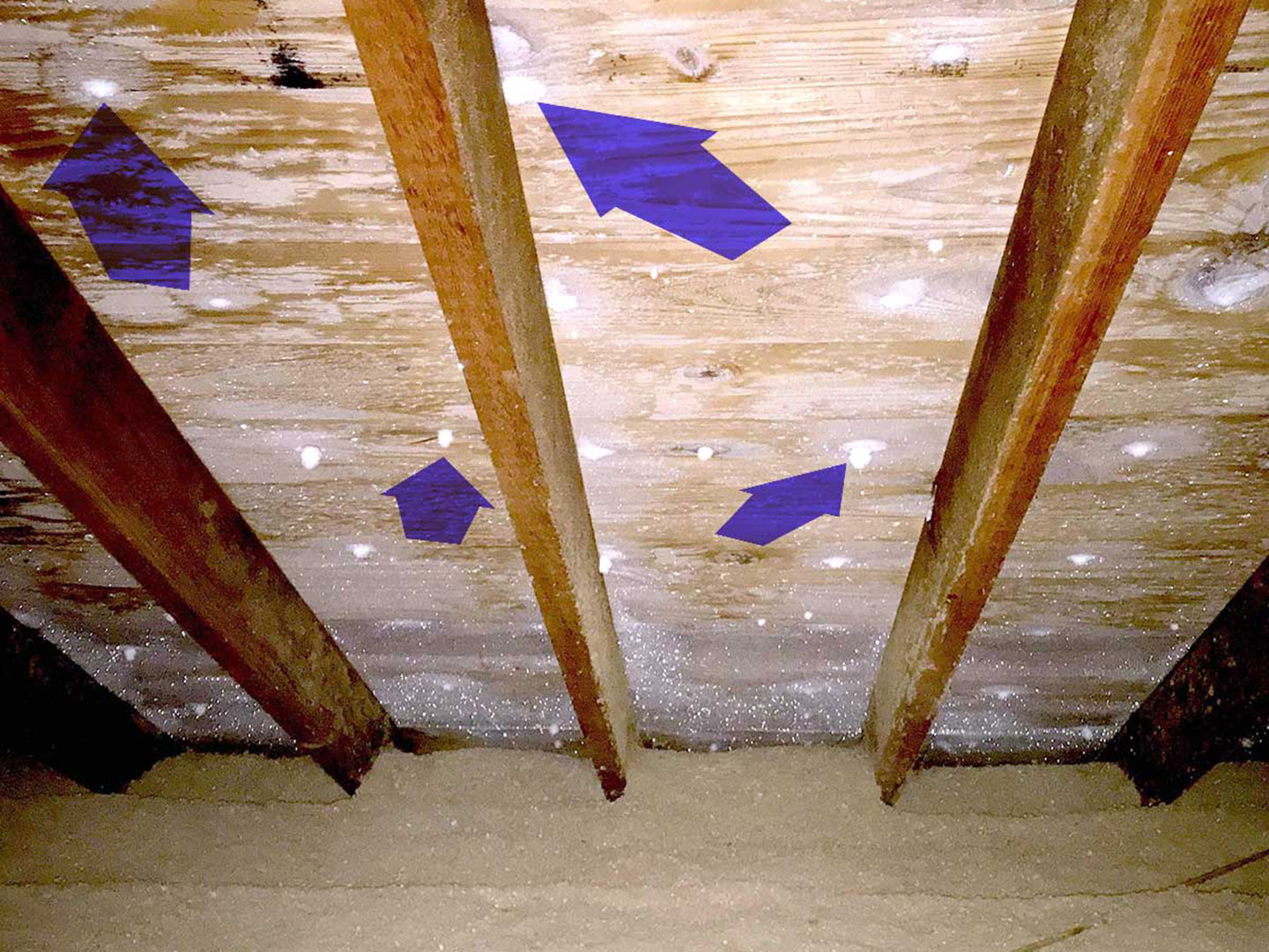 Frost in attic from heat escaping home.