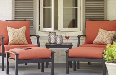 outdoor patio with coral accent