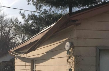 Damaged gutters in Beaverdale, Iowa.