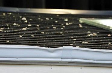 hail damage on gutters
