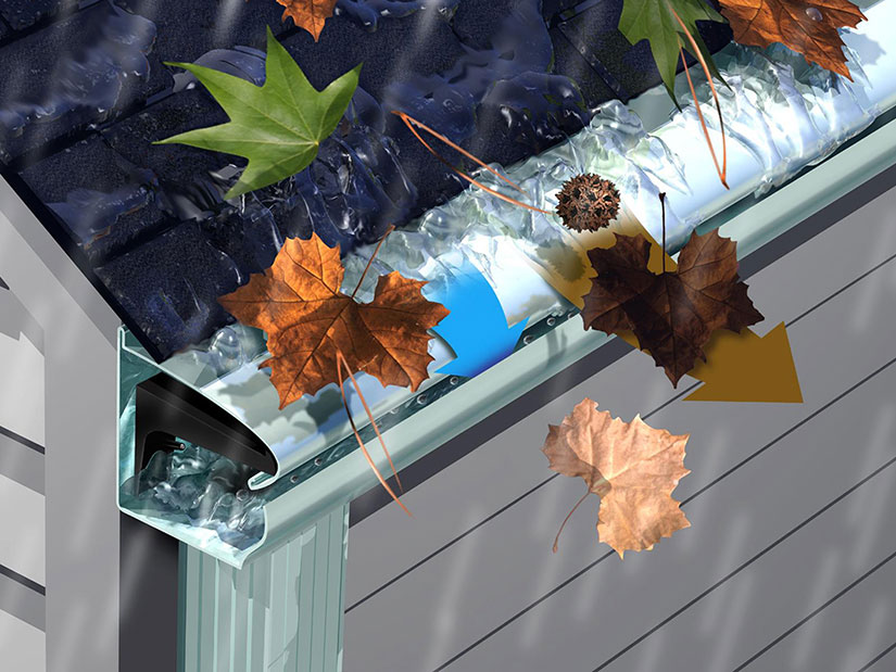 LeafGuard® Gutter's seamless system has a built-in hood that covers the gutter bottom and deflects leaves and other debris.