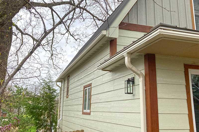 white gutter color side of house